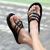 夏季韓版潮流拖鞋男人字拖個性防滑時尚外穿沙灘男士涼拖涼鞋夏天   檸檬衣舍