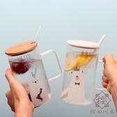 創意可愛大杯子吸管帶蓋勺大容量耐高溫玻璃杯【櫻田川島】