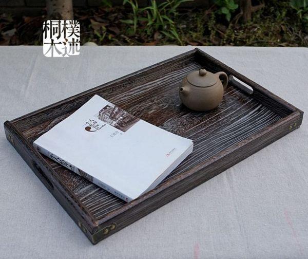 【協貿國際】原木日式燒桐木大號長方形果盤托盤茶盤