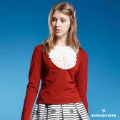 【SHOWCASE】假二件式領結造型棉質T恤(紅色)