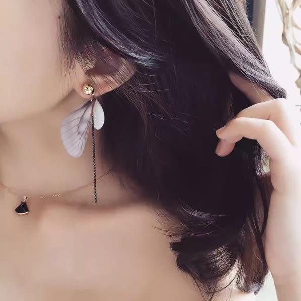 耳環 日韓國氣質款蝴蝶翅膀長款垂墜式耳環【1DDE0637】