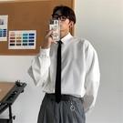 送領帶 秋季白色潮長袖襯衫男生韓版jk潮流上衣dk制服bf寸衣班服