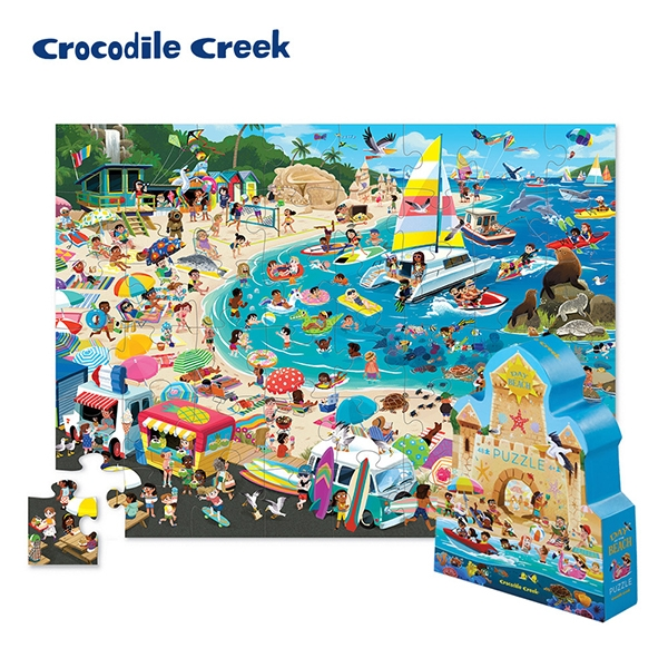 《美國Crocodile Creek》博物館造型盒學習拼圖-海灘樂園(48片)