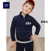 Gap男童 LOGO套頭長袖休閒上衣 秋裝兒童加絨童裝 314696-靛藍色