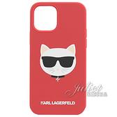 茱麗葉精品【全新現貨】KARL LAGERFELD Iphone 12/12PRO 素色貓咪印花手機殼.紅