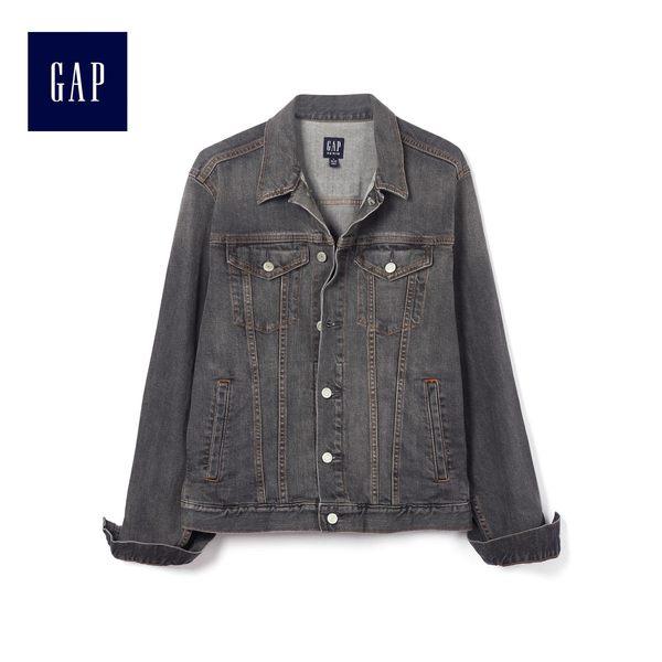 Gap男裝 灰色水洗長袖牛仔夾克 453773-石灰水洗