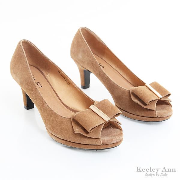 ★零碼出清★Keeley Ann 復古典雅 ~ 甜美蝴蝶結露趾高跟鞋(棕)