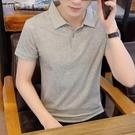 短袖上衣男夏裝短袖t恤男士全棉體桖半袖POLO衫純黑色凈版翻領上衣帶領短衫 快速出貨