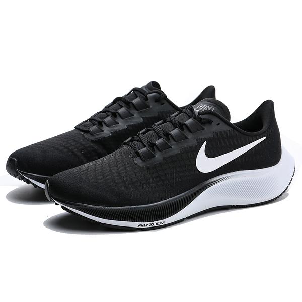 NIKE 慢跑鞋 ZOOM PEGASUS 37 黑白 漸層底 網布 白LOGO女 (布魯克林) BQ9647-002