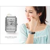 范倫鐵諾Valentino手錶 經典方形水鑽真皮腕錶 氣質女孩名媛【NE211】原廠公司貨