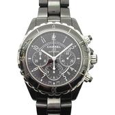 CHANEL 香奈兒 黑色陶瓷三眼自動上鍊機械錶 J12 42mm Chronograph Watch