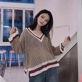 chic韓風v領撞色針織衫上衣薄毛衣女潮6264#KT1F-089依佳衣