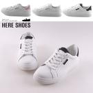 [Here Shoes]零碼38 2cm休閒鞋 皮革+麂皮素面透氣洞洞 圓頭平底綁帶包鞋 小白鞋-KSY018