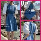 洋裝 韓系春夏牛仔拼接撞色收腰顯瘦短袖連身短裙 共1色 依二衣