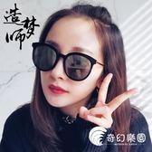 明星同款太陽鏡女潮圓臉顯瘦韓版個性復古男防紫外線墨鏡大框眼鏡-奇幻樂園