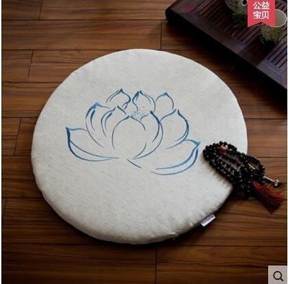 亞麻蓮花蒲團刺繡蒲墊菩蓮方形禪修墊大拜墊瑜伽圓形榻榻米打坐墊【藍色-圓墊】