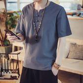 居士服 夏季男裝中國風唐裝漢服復古亞麻短袖上衣 GY508『美鞋公社』