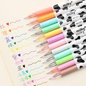 [全館5折] 乳牛斑紋12色水性筆組 韓版 卡通 文具 奶牛 中性筆 彩色 原子筆