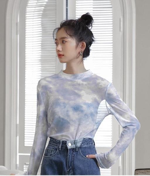 蜜妃兒t恤女長袖網紗薄款春夏2021新款打底衫內搭防曬小心機上衣 童趣屋