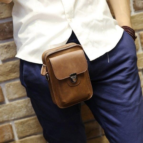 《澤米》瘋馬皮男士可裝5.7吋手機腰掛包 煙包手機包二合一 卡片包 卡片夾 胸包 男包 腰包(全館