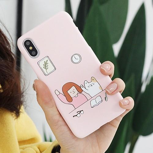 韓國 女孩與貓狗 硬殼 手機殼│iPhone 6 6S 7 8 Plus X XS MAX XR 11 Pro LG G7 G8 V40 V50│z9051
