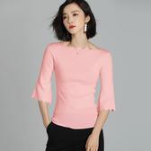 短袖針織衫-波領領波浪袖口粉色女T恤73xi37【巴黎精品】