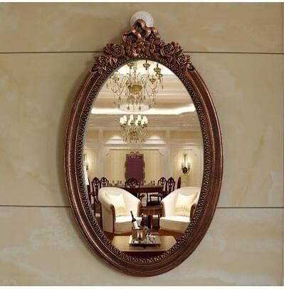 歐式浴室鏡壁掛臥室化妝鏡仿古衛生間鏡(8091拉絲銅65*40)