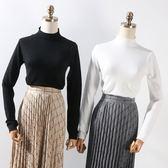 冬季款純色修身顯瘦韓版百搭半高領毛衣女