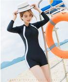 泳衣 泳衣女專業連體運動平角游泳衣2019新款保守遮肚顯瘦長袖大碼泳裝
