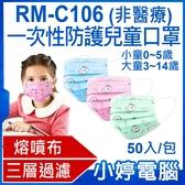 【3期零利率】現貨 RM-C106一次性防護兒童口罩 50入/包 3層過濾 熔噴布 大童小童 小狗骨頭(非醫療)