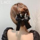 韓國蝴蝶結珍珠髮飾珍珠髮抓夾髮抓夾女生中長髮清爽髮夾扎頭髮
