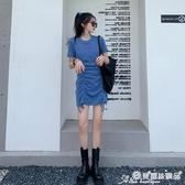緊身洋裝 藍色針織連身裙女夏設計感小心機修身顯瘦抽繩褶皺a字緊身包臀裙 愛麗絲