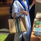 手提包 韓版女士手提公文包職業通勤條紋簡約單肩大包包大容量帆布包