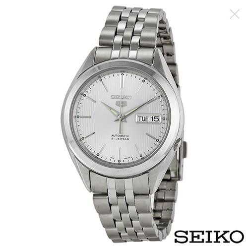 SEIKO精工 精工5日本製造夜光指針白色錶盤不鏽鋼男士手錶 SNKL15J1