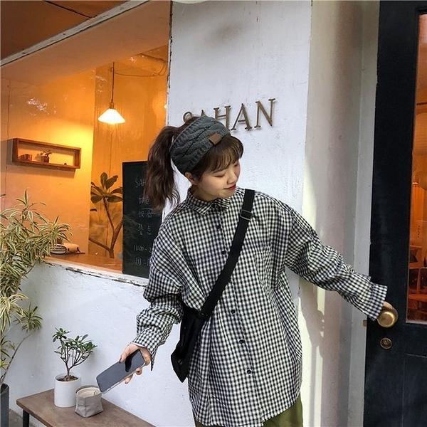FINDSENSE G6 韓國時尚潮流 新款寬鬆純棉休閒襯女裝上衣氣質百搭小格子