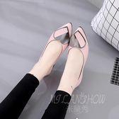 韓版淺口單鞋 雨鞋 時尚百搭平底尖頭休閒鞋