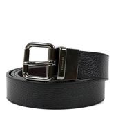 美國正品 COACH 男款 鐵灰色短扣頭雙面用寬版皮帶-黑色/咖啡色【現貨】