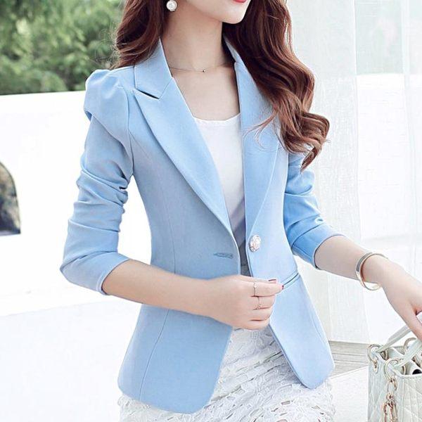新款韓版西裝外套女修身長袖純色休閒時尚小西裝女『櫻花小屋』