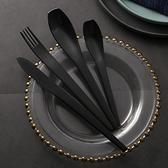 北歐網紅ins風拉絲黑色不銹鋼西餐牛排刀叉勺套裝