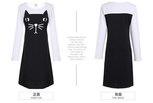 中大尺碼~時尚貓咪印花撞色拼接長袖洋裝(XL)