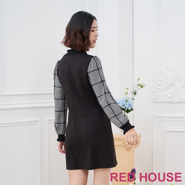RED HOUSE-蕾赫斯-素面格紋袖洋裝(黑色)
