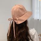 遮陽帽 日系軟妹甜美可愛系帶蝴蝶結漁夫帽子女夏季韓版文藝遮陽防曬盆帽