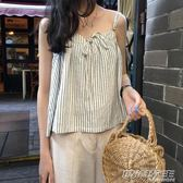 短款棉麻吊帶女 夏季韓版chic復古豎條紋可調節肩帶A字背心上衣潮  時尚教主