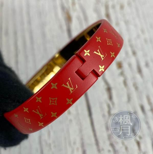 BRAND楓月 LOUIS VUITTON LV M67197 紅色 原花 金屬 手環 手鐲 #S