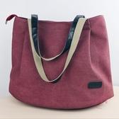 購物包 帆布女包中大包休閒ins大容量簡約單肩包手提布包購物袋正韓托特  【快速出貨】