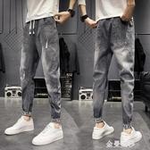 夏季牛仔褲男士韓版修身潮流休閒九分褲青少年百搭破洞小腳男褲子 極簡雜貨