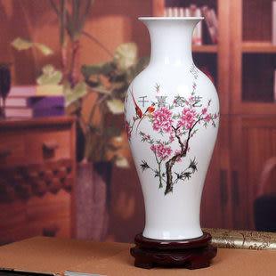 千喜景德鎮陶瓷器薄胎瓷粉彩花瓶魚尾瓶水點桃花運簡約現代