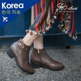 靴.金屬飾帶粗跟短靴-FM時尚美鞋-韓國精選.Conversion