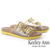 2019春夏_Keeley Ann時尚膠片 雙帶透視金屬飾釦拖鞋(黃色) -Ann系列