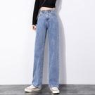 S-4XL大碼寬褲~闊腿牛仔褲女高腰直筒寬松顯瘦垂感拖地褲子BF13C愛尚布衣